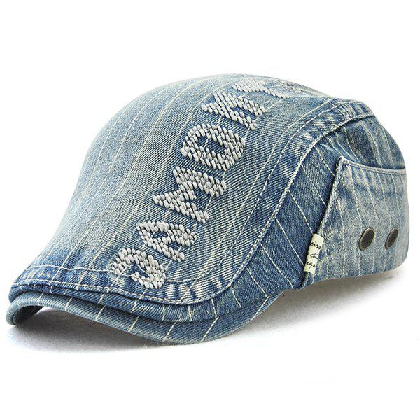 Outdoor Letter Pattern Embellished Denim Newsboy Hat - BLUE
