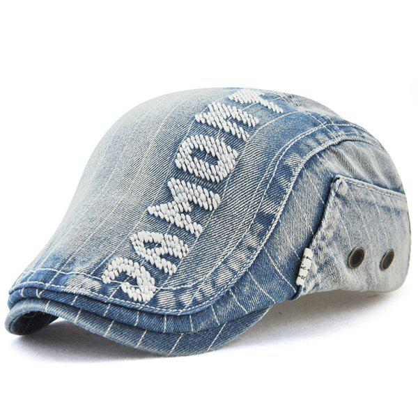 Outdoor Letter Pattern Embellished Denim Newsboy Hat - DENIM BLUE