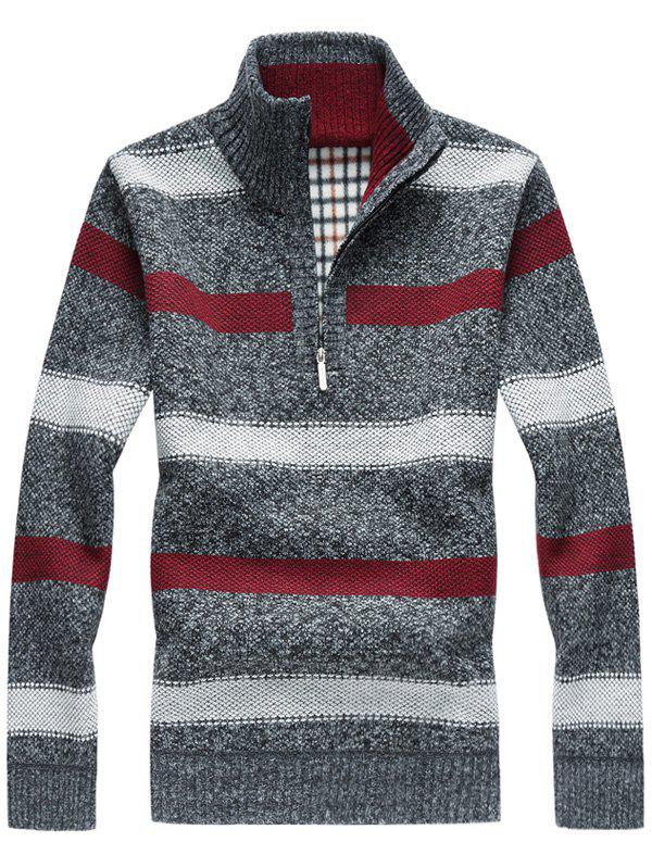 Half Zipper Stripe Fleece Sweater - GRAY 2XL