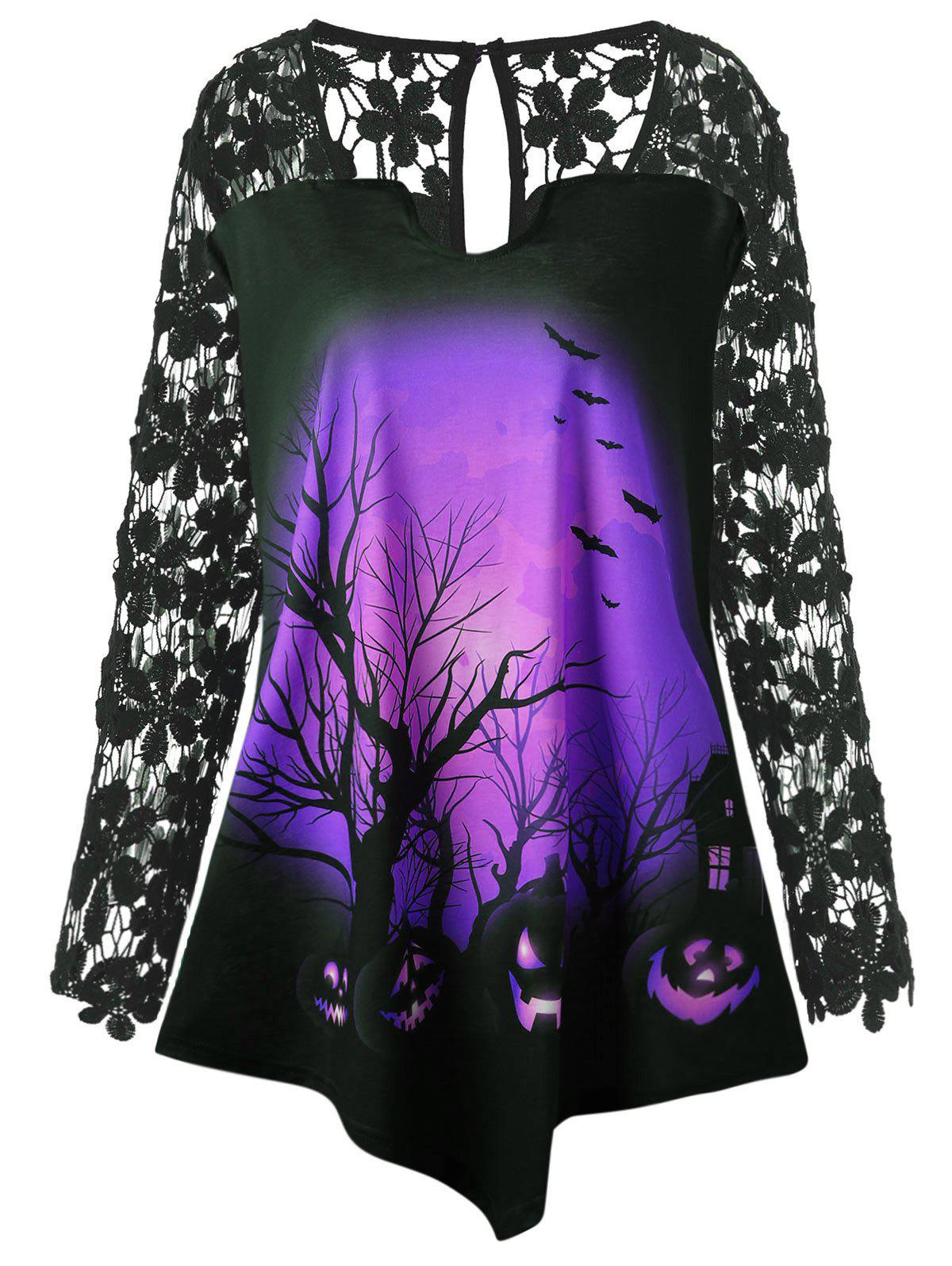 Plus Size Halloween Pumpkin Lace Insert Tunic T-shirt - PURPLE XL