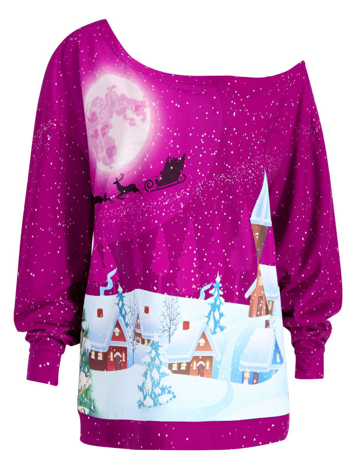 Plus Size Christmas Evening Printed Skew Neck Sweatshirt plus size skew neck floral sweatshirt