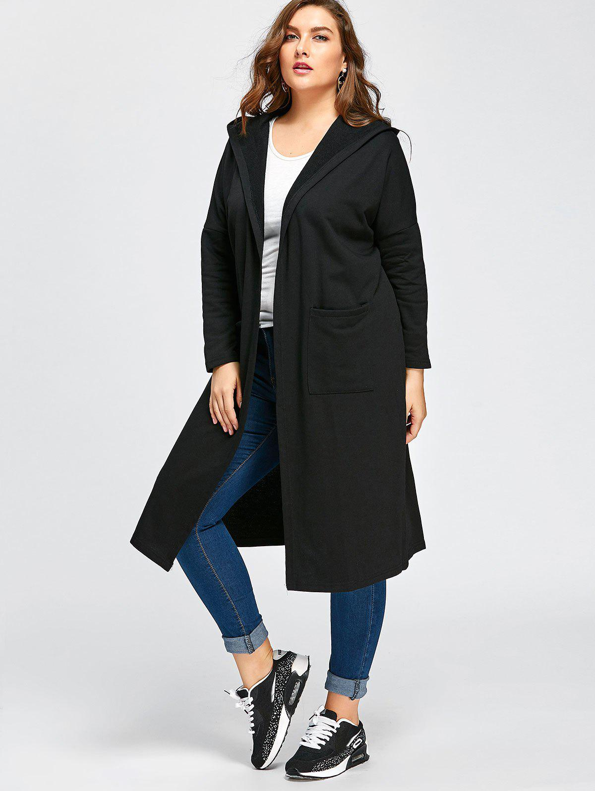 Plus Size Longline Hooded Coat with Pockets - BLACK ONE SIZE