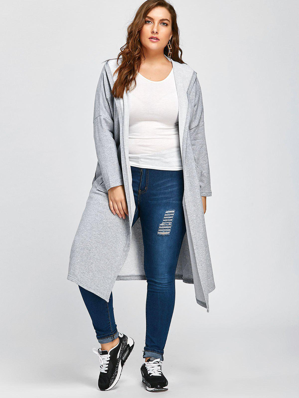 Plus Size Longline Hooded Coat with Pockets - LIGHT GRAY ONE SIZE