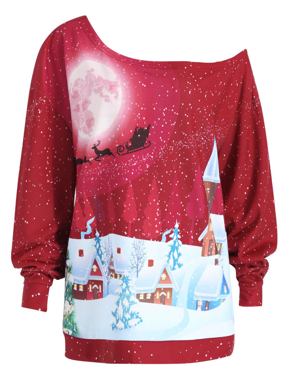Plus Size Christmas Evening Printed Skew Neck Sweatshirt plus size christmas reindeer skew collar sweatshirt