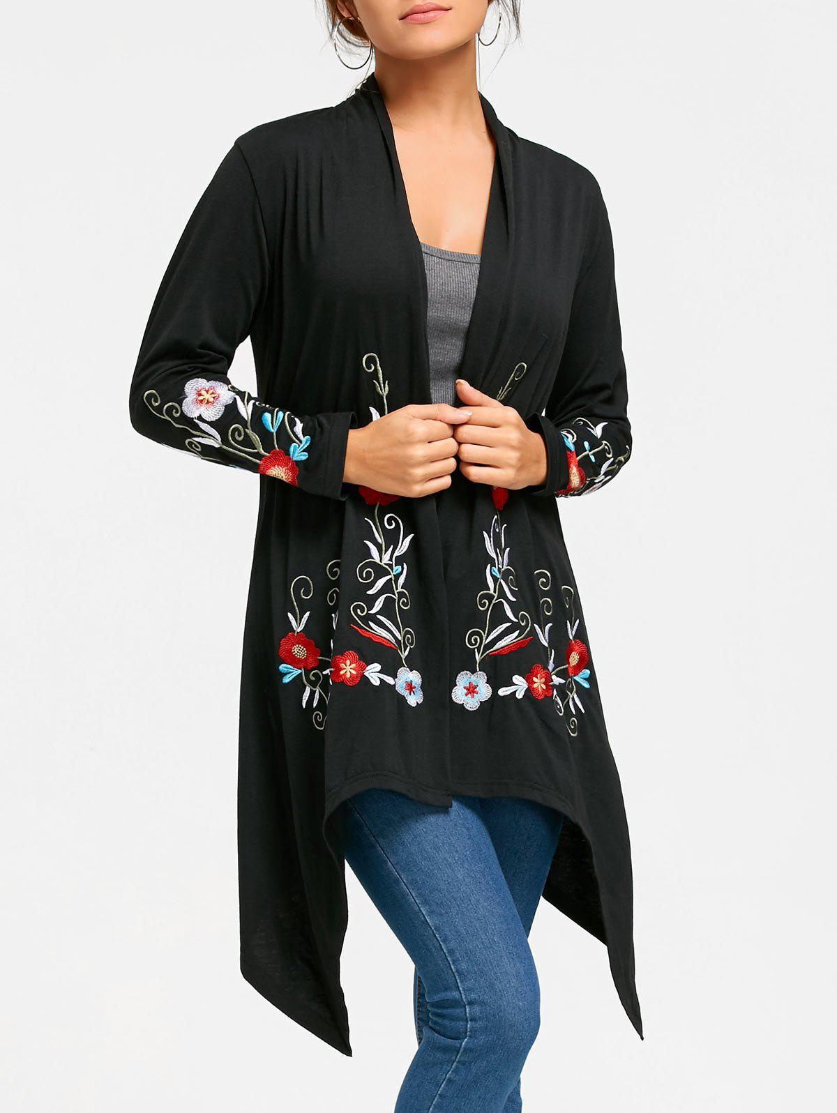 Embroidery Tunic Cardigan - BLACK M