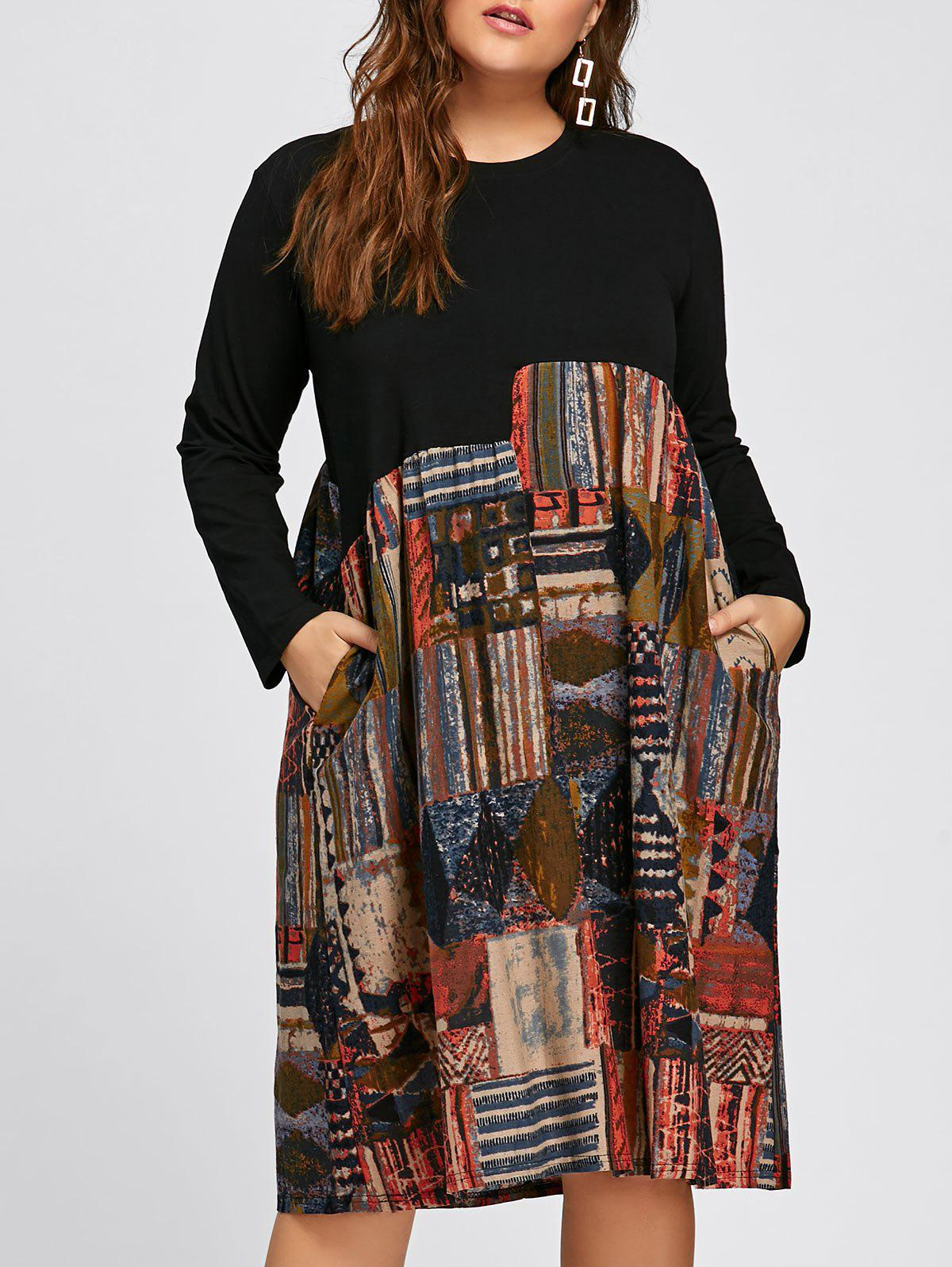 Plus Size Abstract Printed Long Sleeve Midi Trapeze Dress - BLACK ONE SIZE