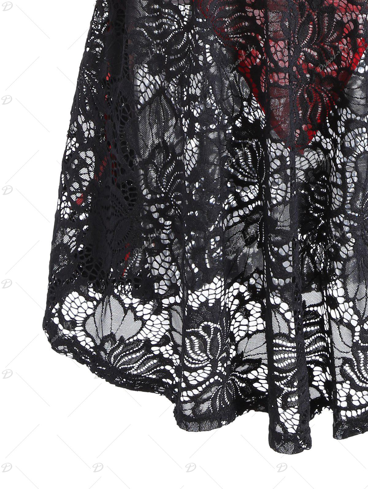 Lace See Through Vintage Robe Lingerie - Noir 2XL