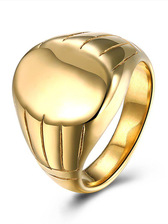 Oval Engraved Claw Pattern Finger Ring - GOLDEN 10