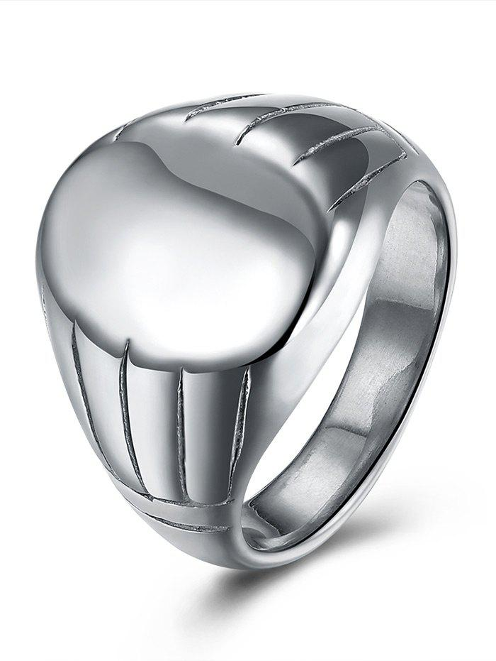 Oval Engraved Claw Pattern Finger Ring - SILVER 7