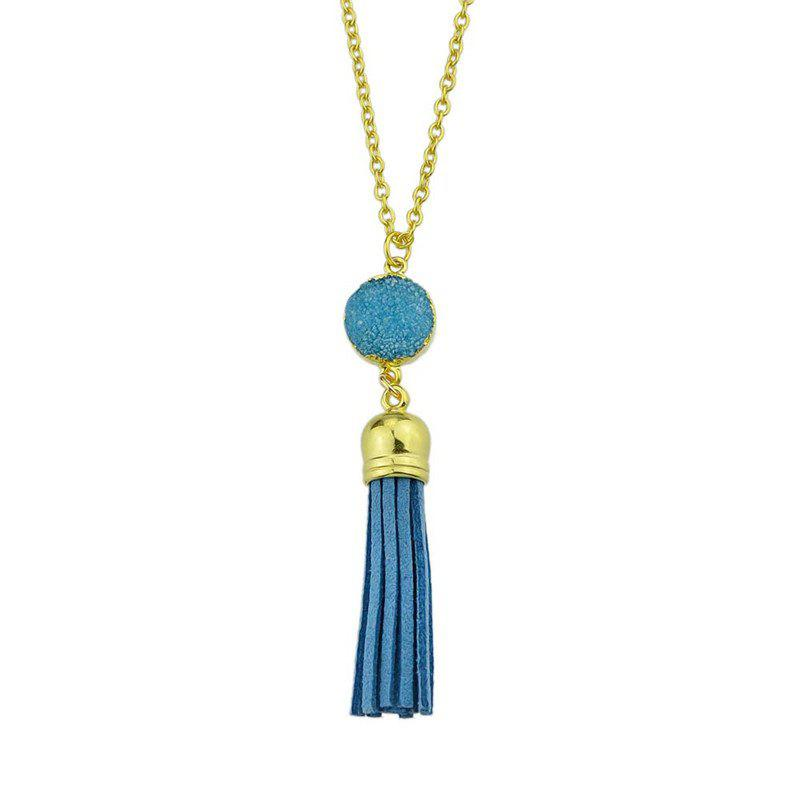 Faux Leather Tassels Pendant Necklace - BLUE