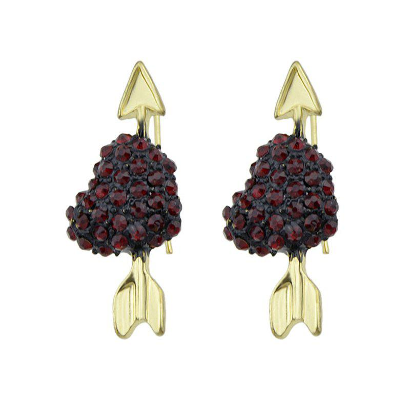 Heart Arrow Faux Gem Embellished Earrings - Or