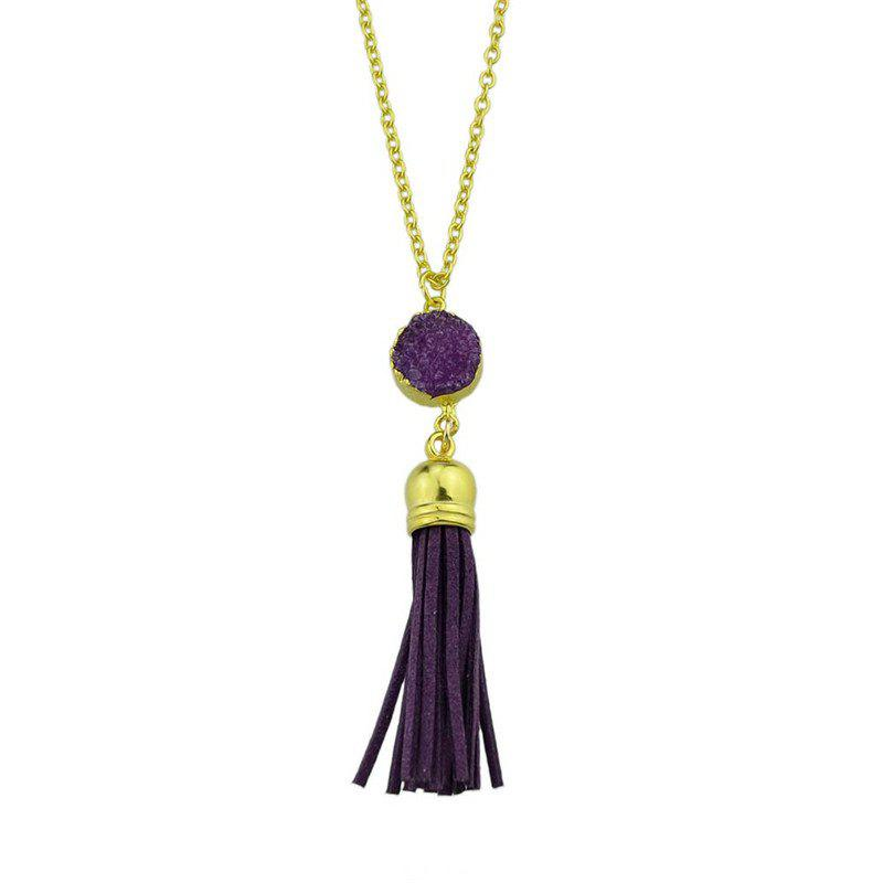 Faux Leather Tassels Pendant Necklace - Pourpre