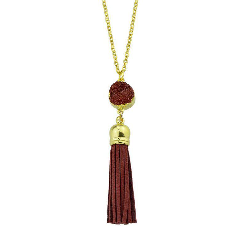 Faux Leather Tassels Pendant Necklace - Rouge