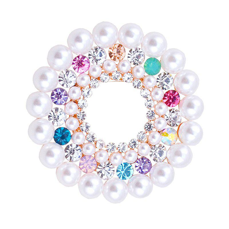 Rhinestone Faux Pearl Floral Brooch - COLORMIX