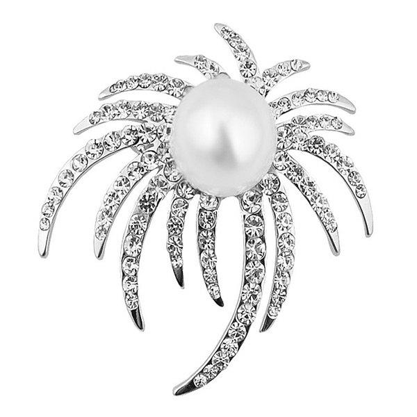 Faux Pearl Rhinestone Unique Brooch - Argent