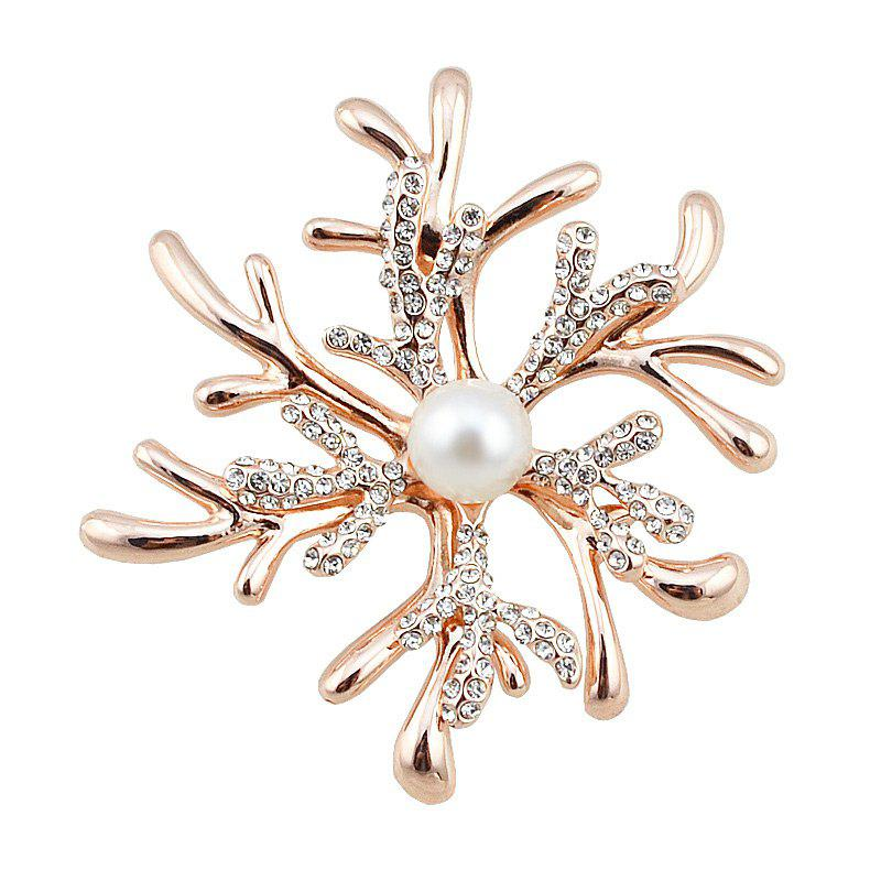 Christmas Rhinestoned Faux Pearl Snowflake Brooch - GOLDEN