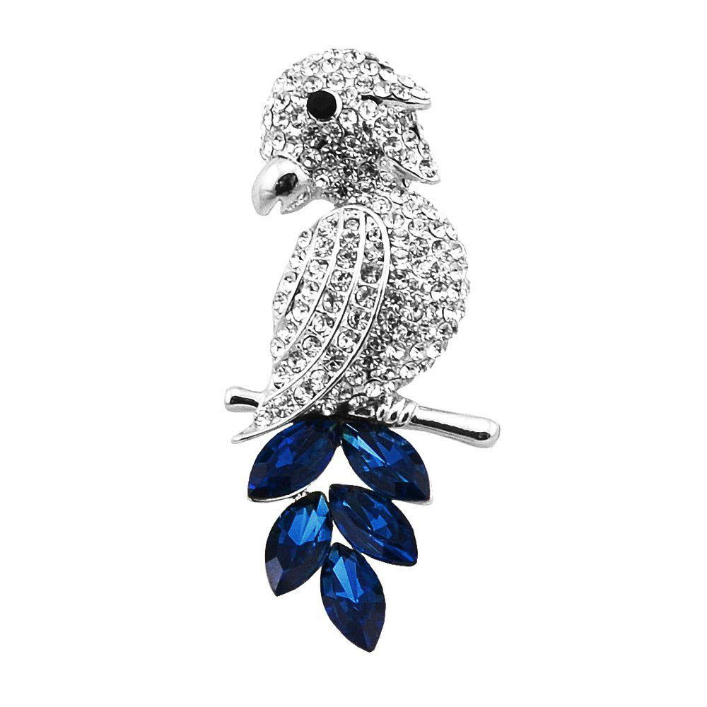 Rhinestone Faux Crystal Bird Brooch - SILVER/BLUE