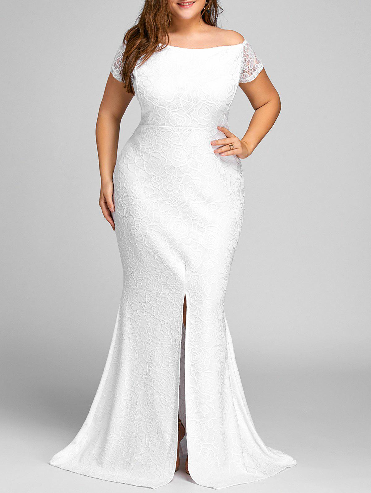 Off The Shoulder Lace Slit Plus Size Dress - WHITE 2XL