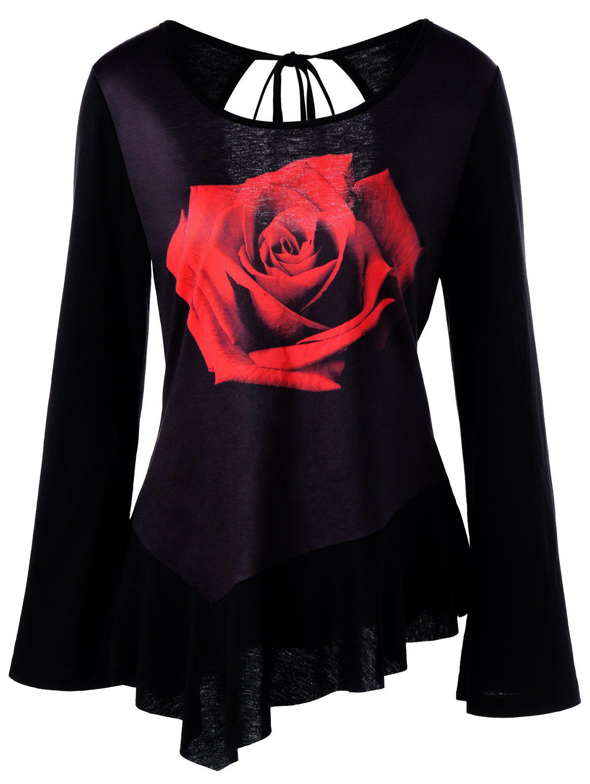 Bell Sleeve 3D Rose Print Cut Out T-shirt футболка breathe out rose t shirt черный l
