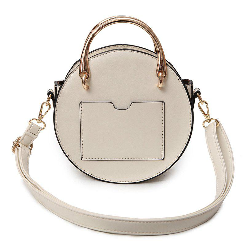 Rivets Metal Ring Crossbody Bag - WHITE