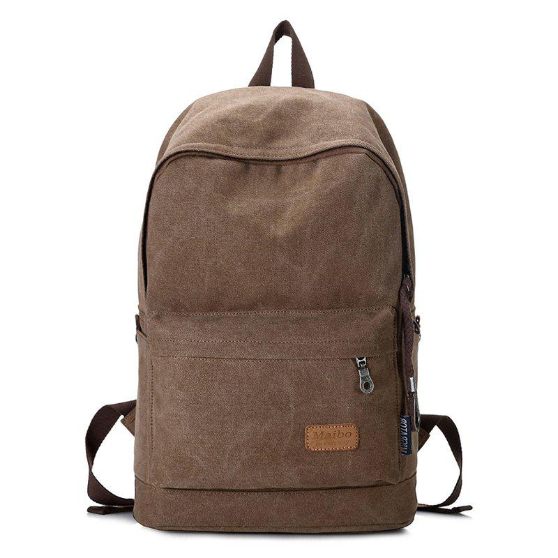 Stitching Solid Color Backpack - BROWN