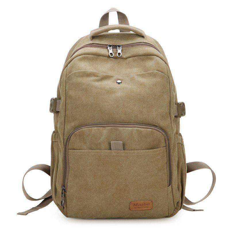 Rivet Buckle Strap School Backpack - KHAKI