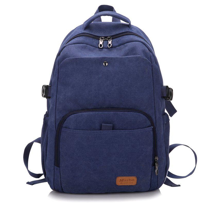 Rivet Buckle Strap School Backpack - BLUE