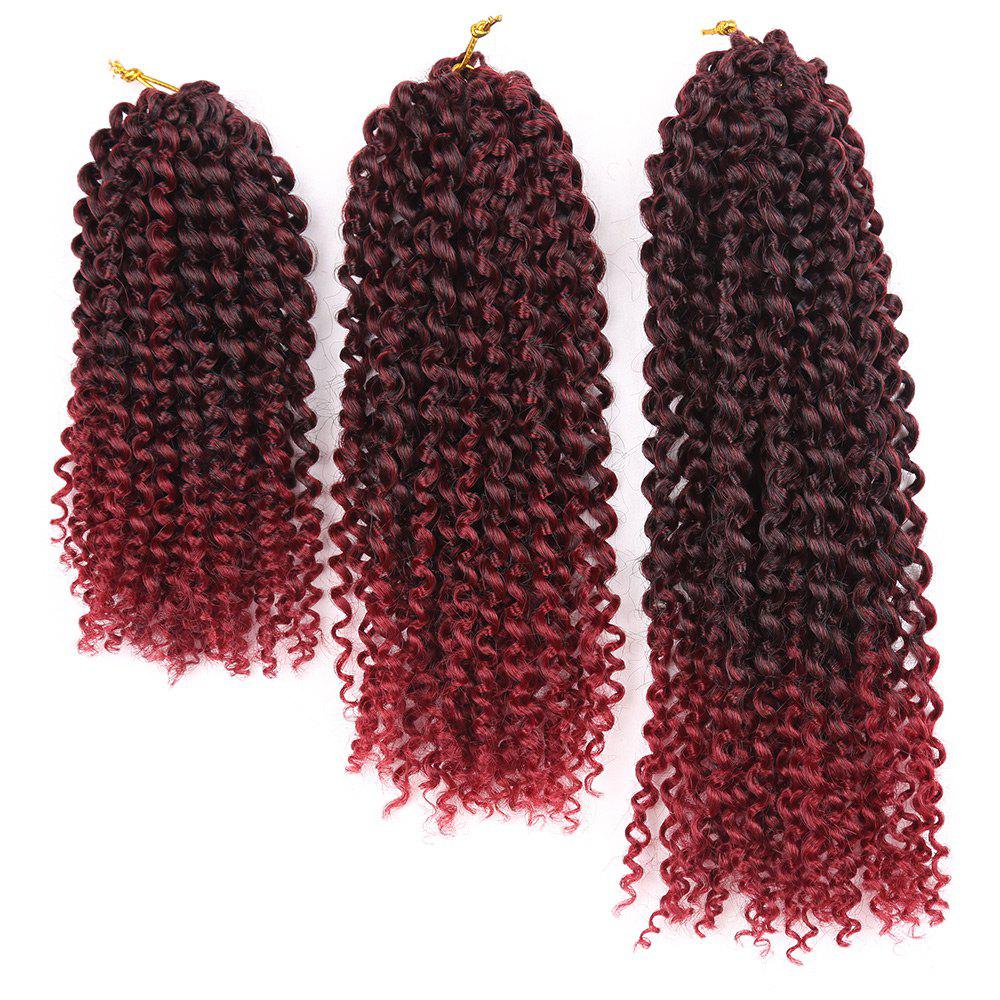 3Pcs Afro Kinky Curly Mali Bob Twist Braids Short Synthetic Hair Weaves - Rouge vineux