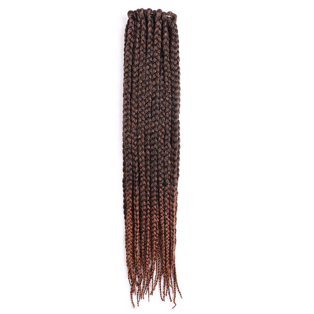 Three-strand Box Braids Long Synthetic Hair Weave - BROWN