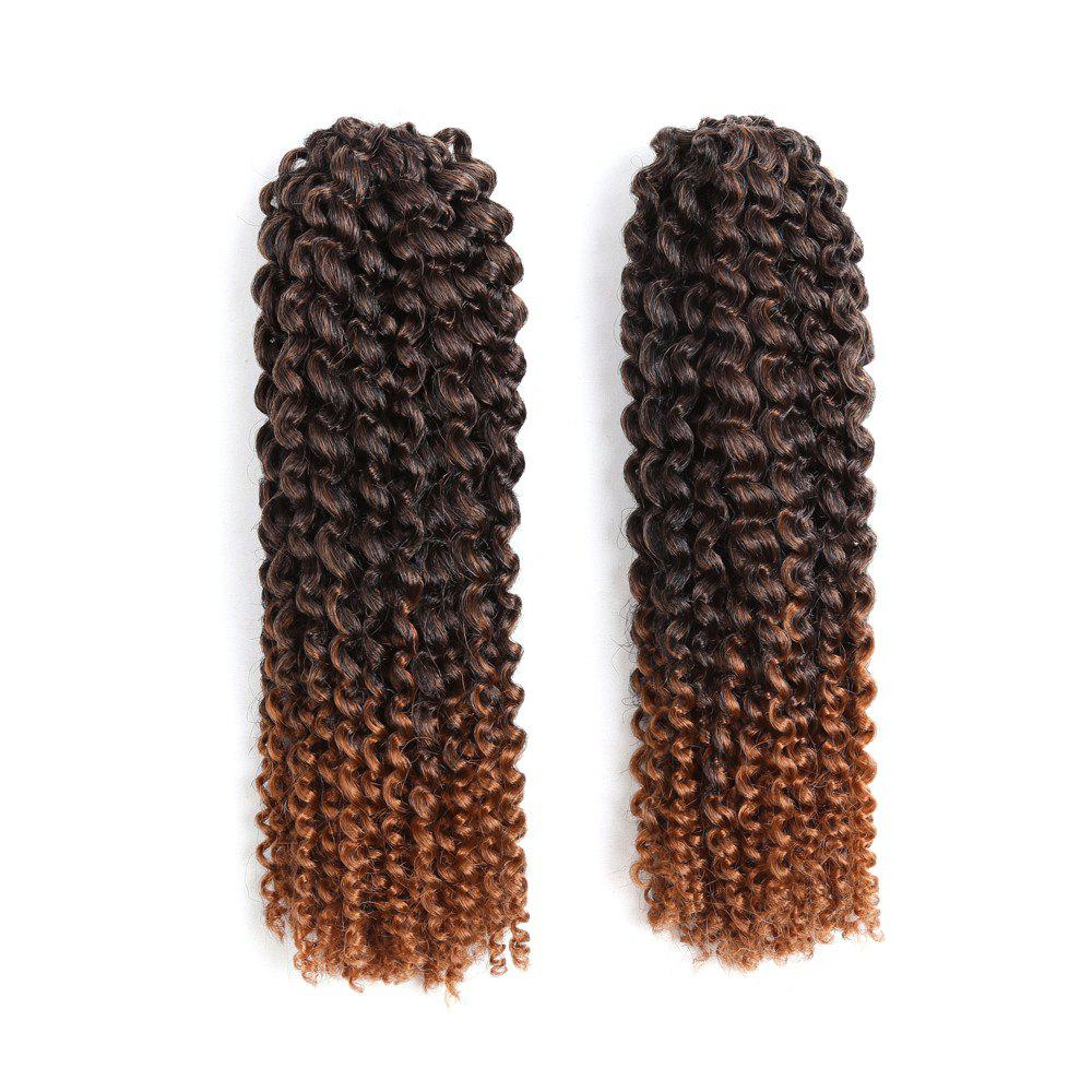 2Pcs Short Twisted Mali Bob Crochet Braids Synthetic Hair Weaves - DARK BROWN OMBRE