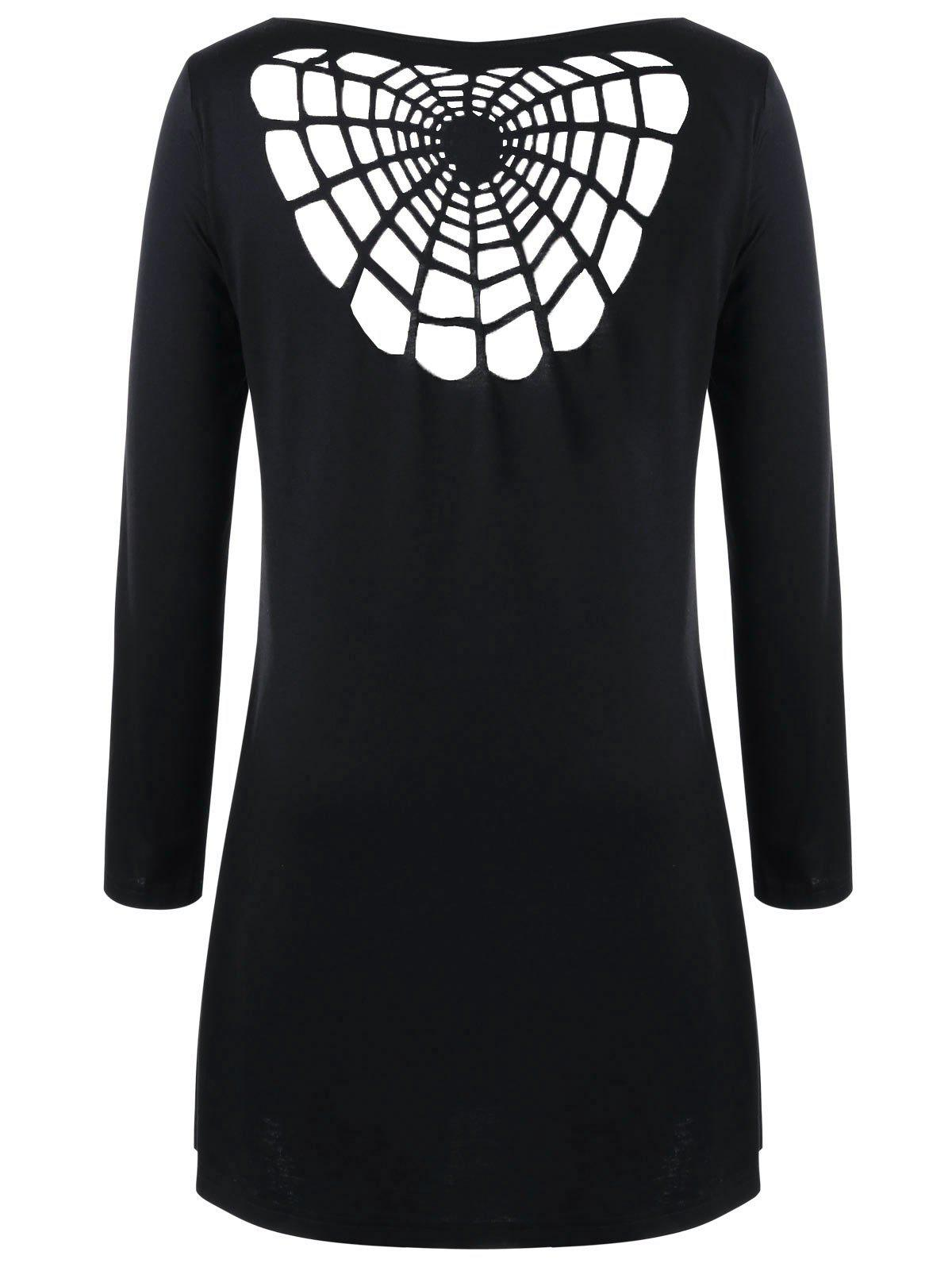 Halloween Plus Size Openwork Spider Tunic T-shirt - BLACK 4XL