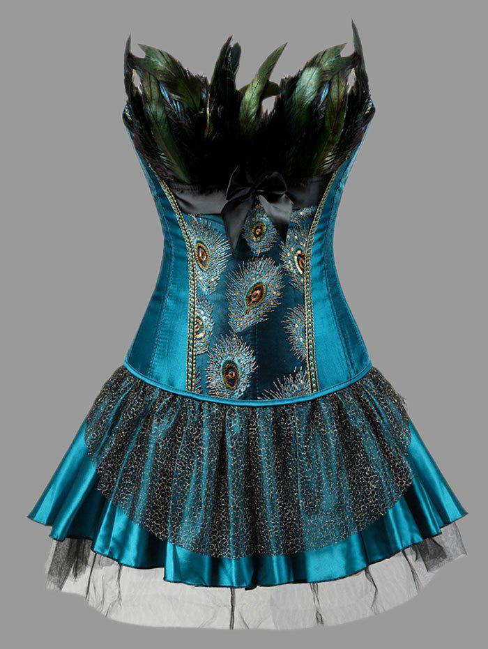 Plus Size Two Piece Corset Dress with Feather - PEACOCK BLUE 6XL