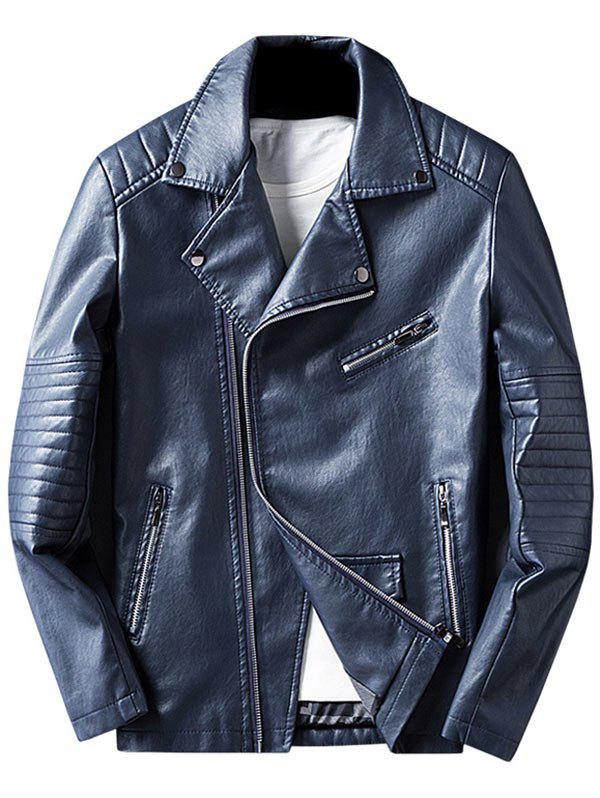 Asymmetric Zip Faux Leather Jacket, Blue