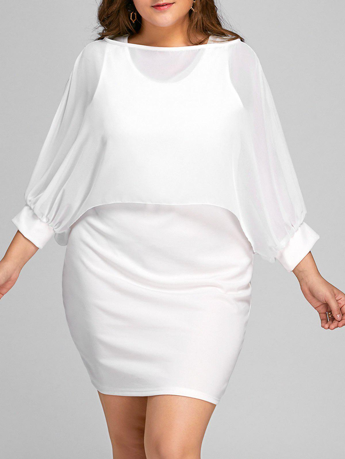 Plus Size Tank Dress and Chiffon Cape - WHITE 2XL