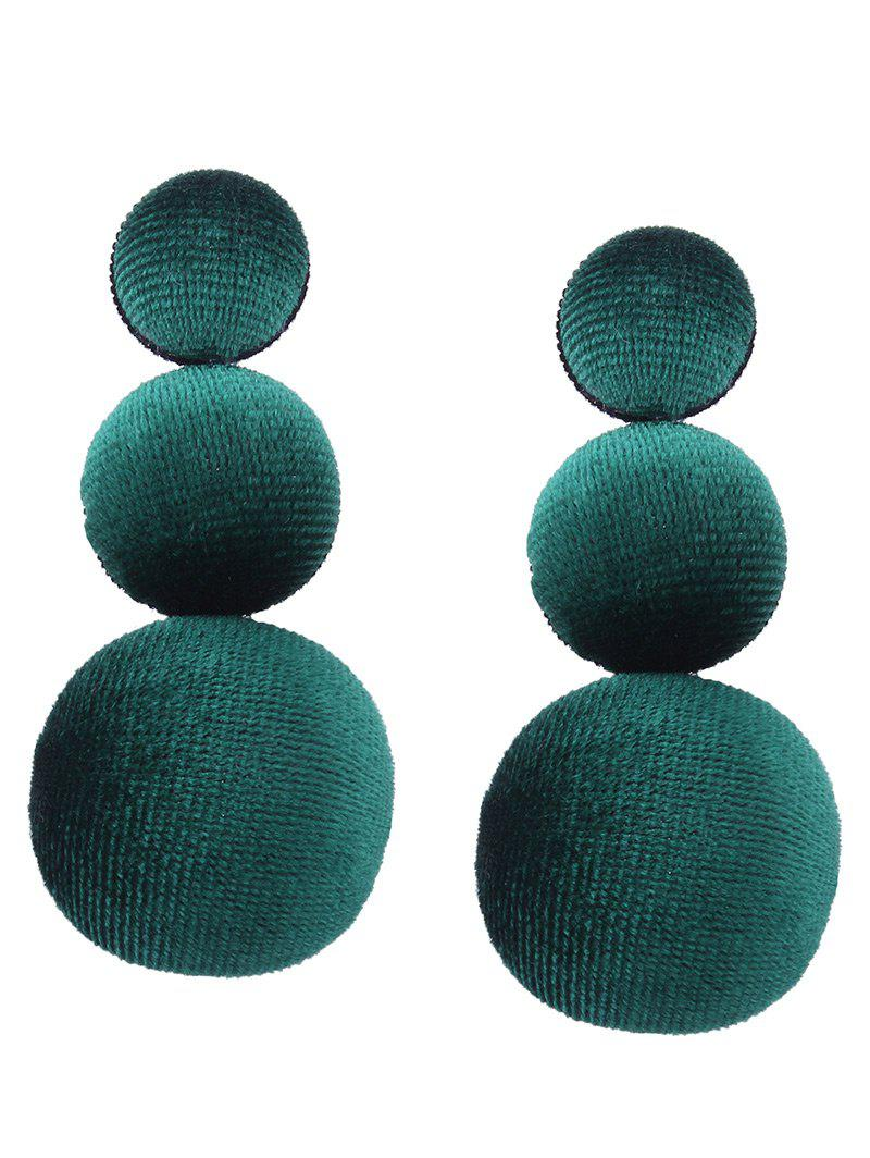 Vintage Graduated Round Velvet Earrings - Vert