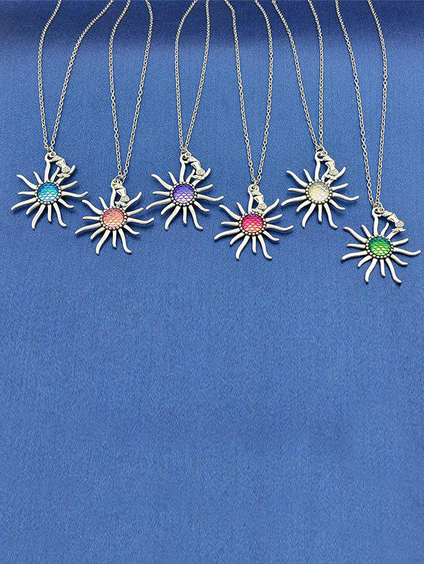 Sunflower Fish Scales Alloy Necklace - PURPLE