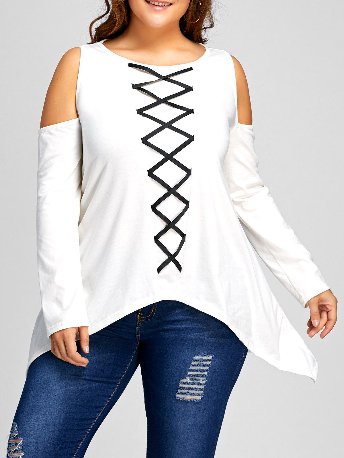 Asymmetrical Plus Size Cold Shoulder T-shirt - WHITE 4XL