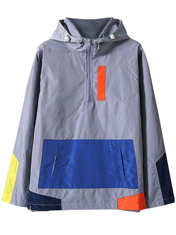 Colorblocked Half Zip Windbreaker Jacket - GRAY L