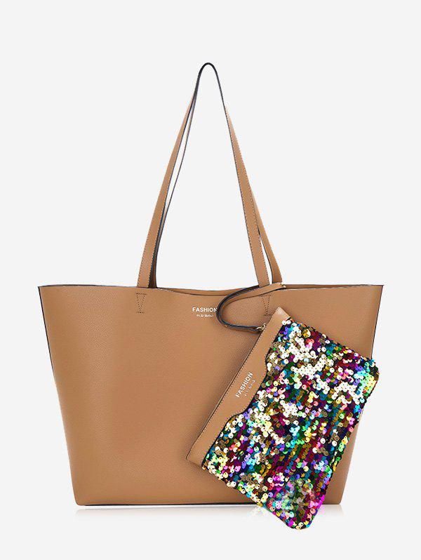 Sequined Letter Print Shoulder Bag Set - BROWN
