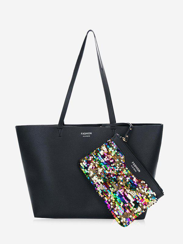 Sequined Letter Print Shoulder Bag Set - BLACK