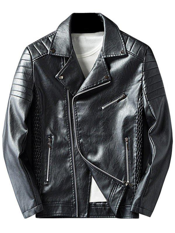 Asymmetrical Zip Pleated Rib Faux Leather Jacket faux leather pleated skirt in black