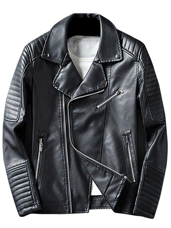 Asymmetrical Zipper Up Lapel Faux Leather Jacket