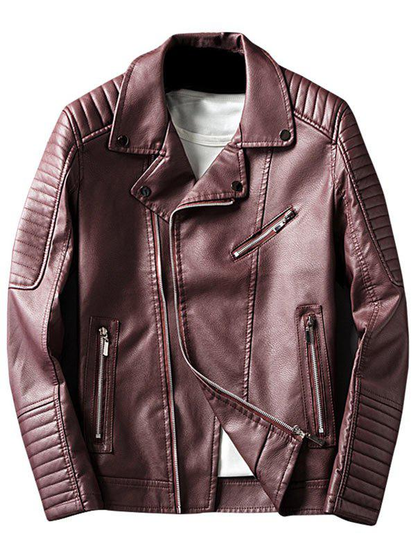 Veste En Cuir Asymétrique Zipper Up Lapel Faux - Rouge vineux L
