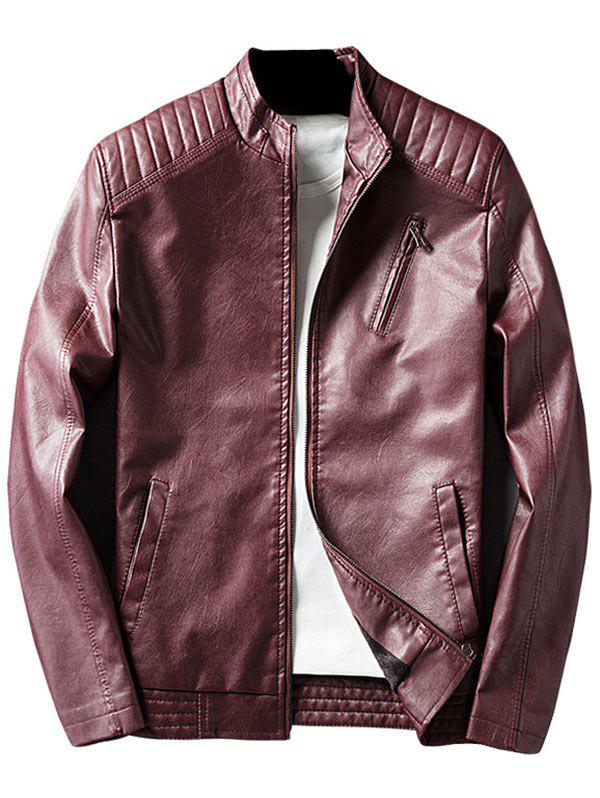 Stand Collar Casual Faux Leather Jacket - Rouge vineux XL