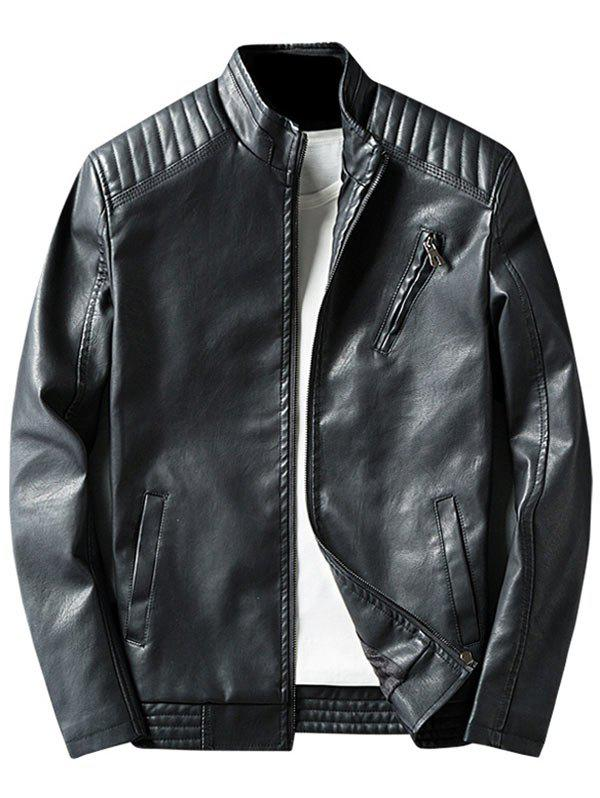 Stand Collar Casual Faux Leather Jacket - Noir XL