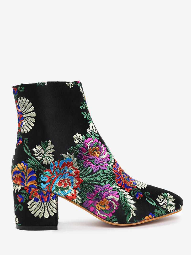 Embroidery Flower Ankle Boots - BLACK 40