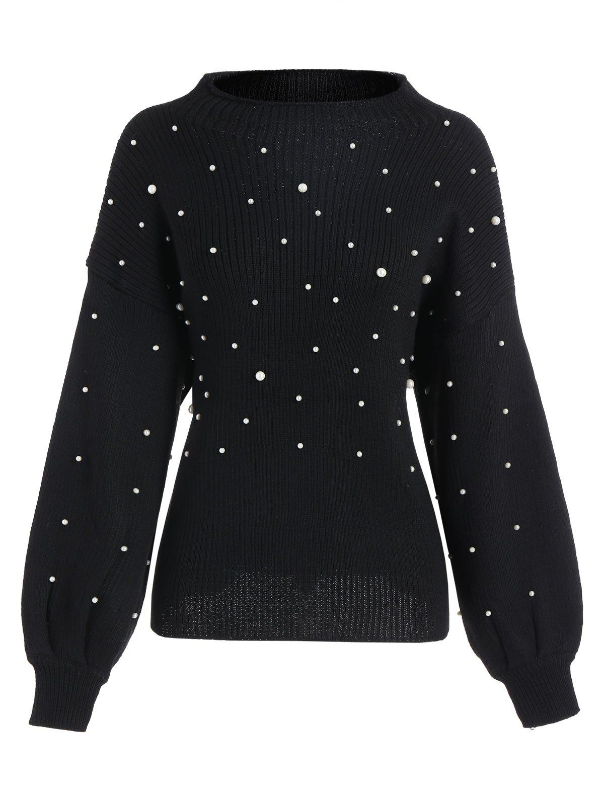 2017 Plus Size Beading Mock Neck Cute Sweater BLACK XL In Plus ...