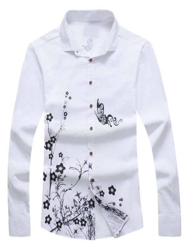 Floral Butterfly Print Casual Shirt à manches longues - Blanc 5XL