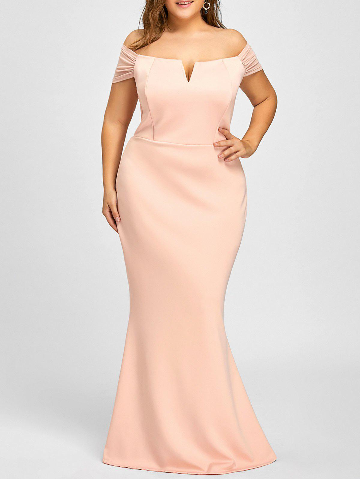 Mermaid Off The Shoulder Formal Plus Size Dress - PINK XL