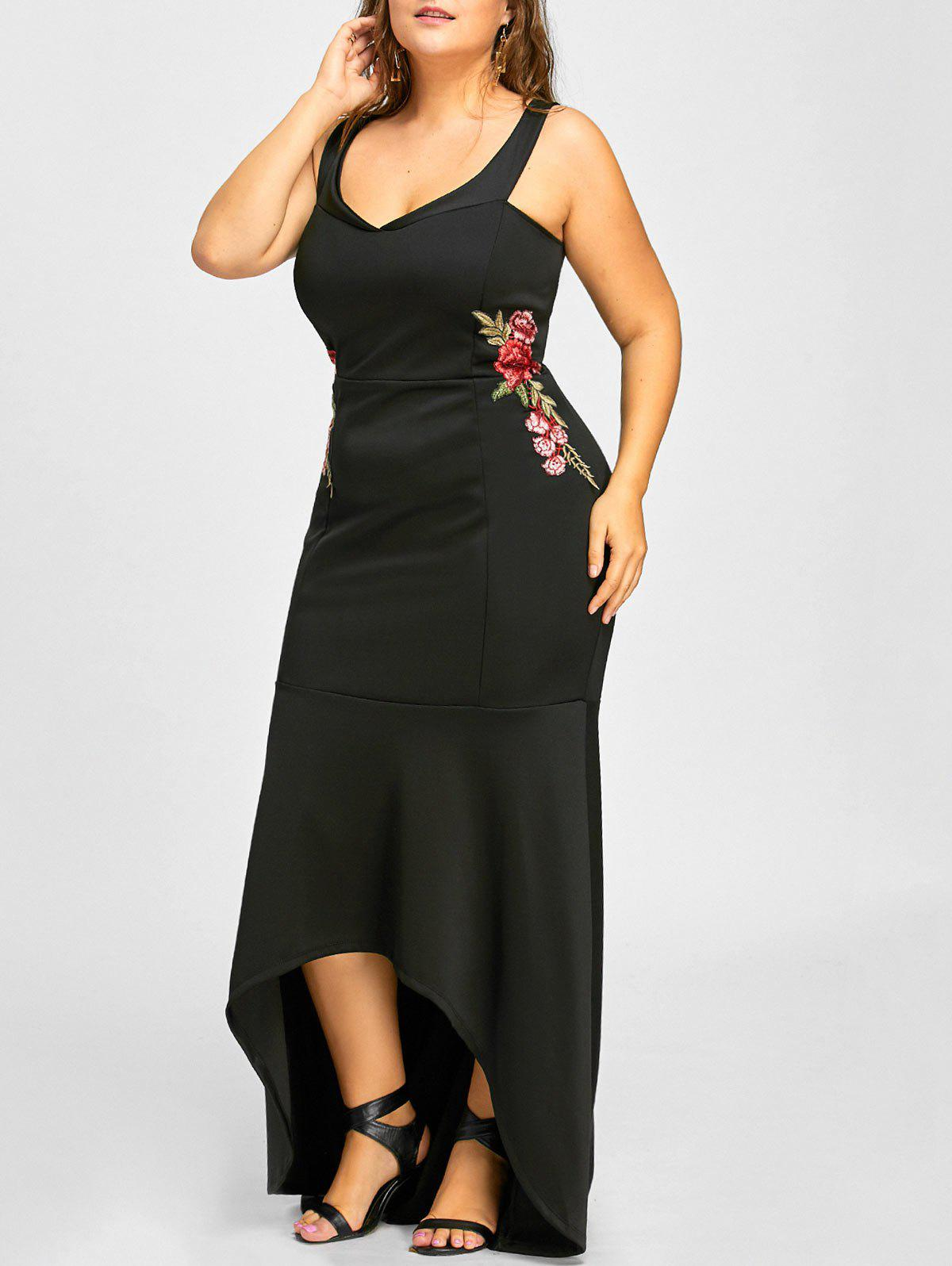 High Low Mermaid Floral Embroidered Plus Size Dress - BLACK 2XL